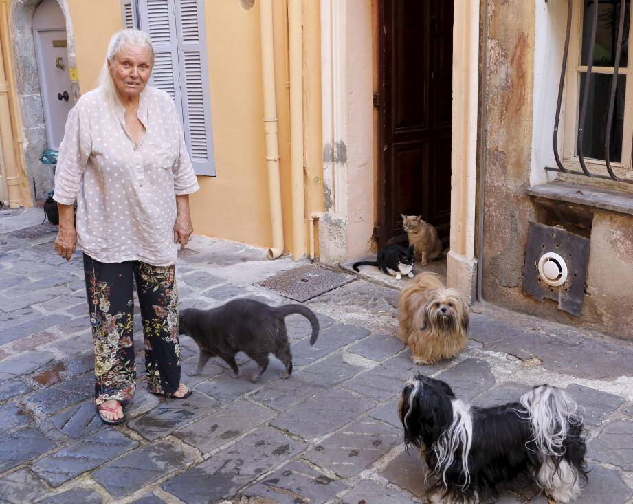 Gribouille, ici entourée de ses bêtes,aemmené undes chats agonisants chez le vétérinaire.