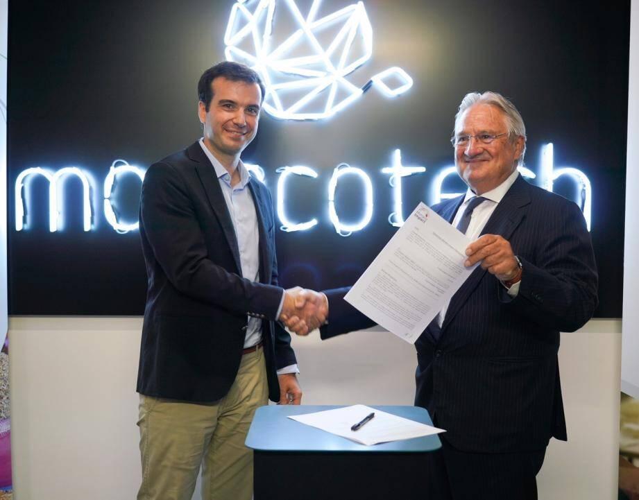Fabrice Marquet, directeur de MonacoTech, et Peter Kutemann, président de Monaco Impact, ont acté hier soir leur collaboration à venir dans le domaine de l'entrepreneuriat.