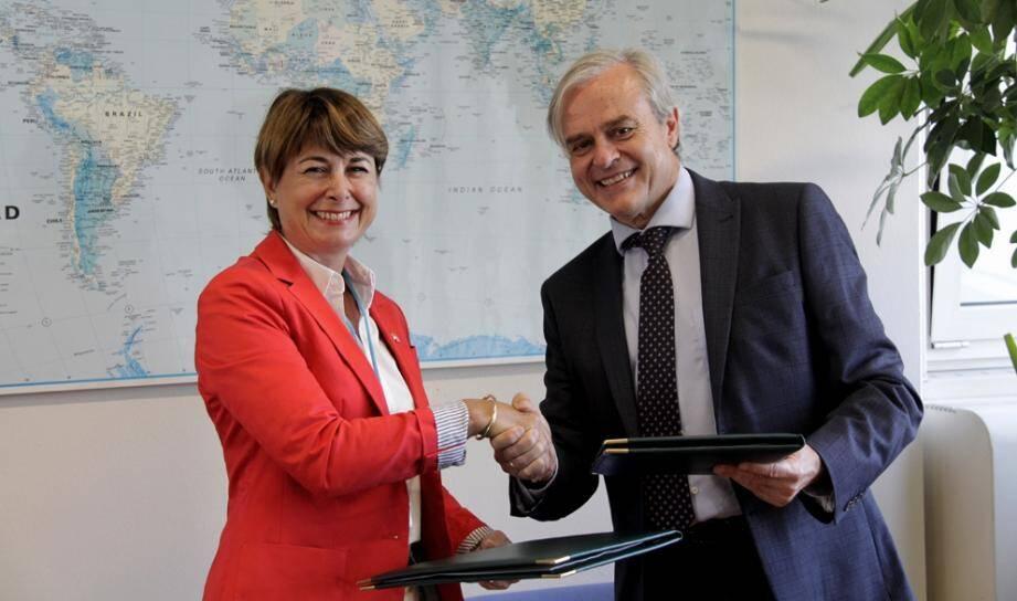Isabelle Berro-Amadeï et Jean-Luc Lemahieu ont renouvelé le partenariat entre le gouvernement princier et l'Office des Nations unies contre la drogue et le crime.(DR)