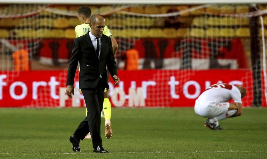 AS Monaco - SCO Angers 7ème journée de Ligue 1 de football 2018/2019 au stade Louis II de Monaco - mardi 25 septembre 2018 à 19h -Déception de Jardim et Glik FOOT AS MONACO - ANGERS