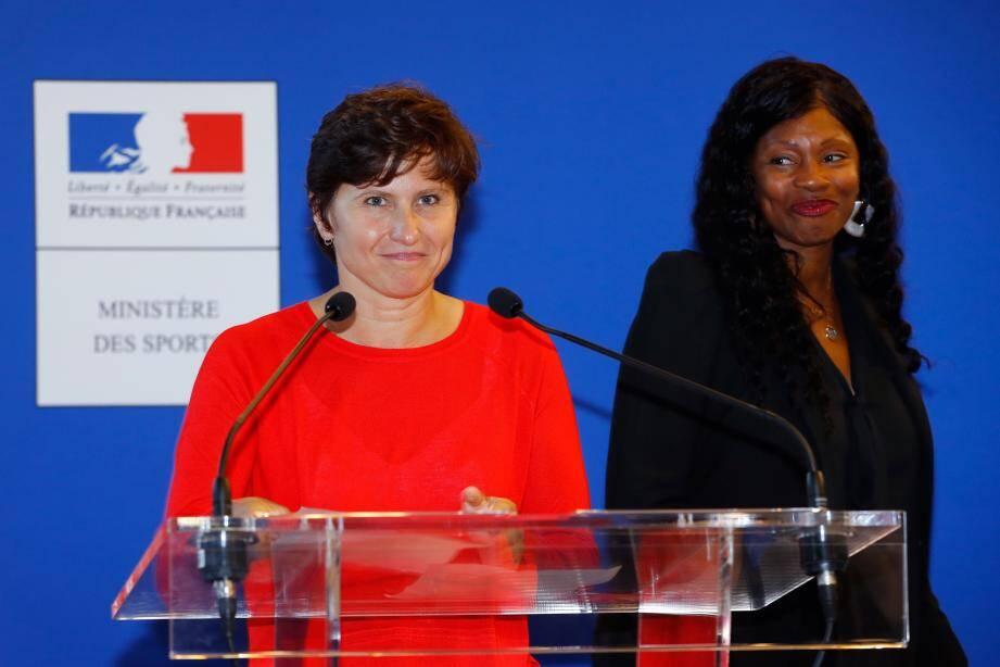 Lors de la passation de pouvoir au ministère des sports entre Laura Flessel et Roxana Maracineanu, e 4 septembre.
