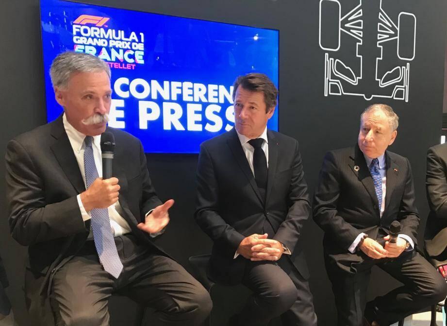 L'Américain Chase Carey, le patron de la F1, Christian Estrosi et Jean Todt, président de la fédération internationale automobile (FIA), ont dévoilé les grandes lignes du GP de France 2019 au Castellet (23 juin).