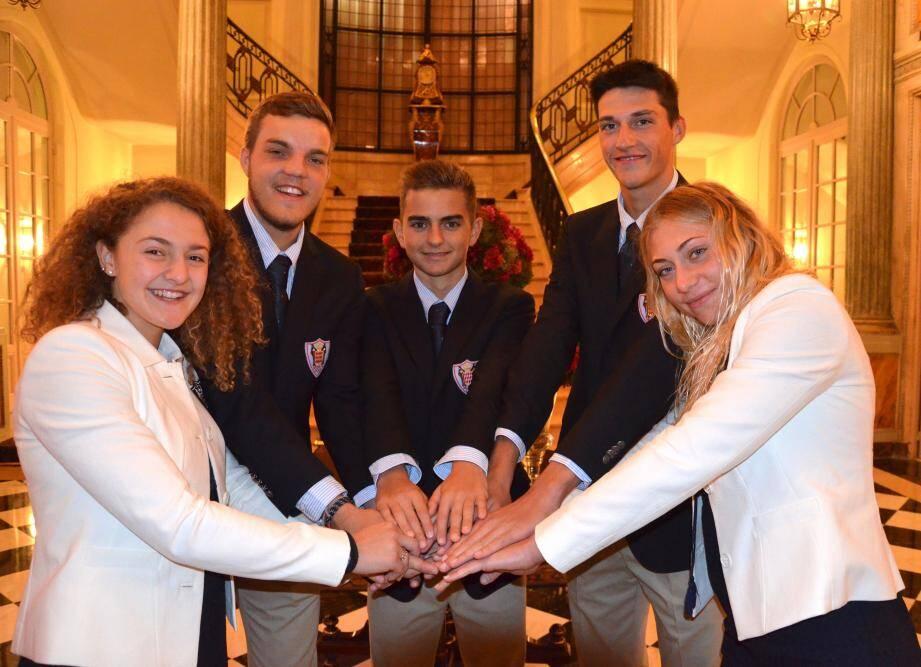 Charlotte Afriat, Ludovic Palmaro, Emilien Puyo, Olivier Lanteri, Claudia Verdino : des jeunes athlètes monégasques que l'on retrouvera peut-être à Paris en 2024.