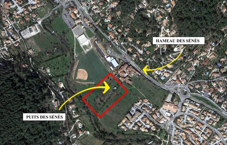 Les travaux de sécurisation du puits des Sénès sont en cours d'achèvement. La ville a échangé une parcelle de terrain de 412 m² proche du puits contre une autre de même envergure au bord du Gapeau (ci-dessus).(Repro DR)