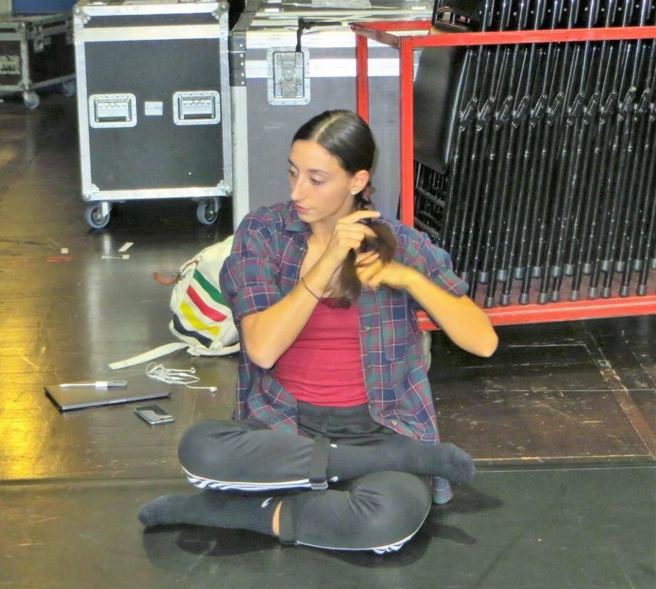 La danseuse lors de sa master class au palais hier.