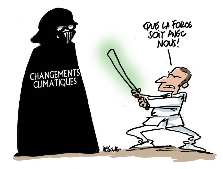 Ces derniers mois, le président français s'est affiché sur la scène diplomatique comme un guerrier en lutte fiévreuse contre le changement climatique.(Illustration et photos archives Nice-Matin)