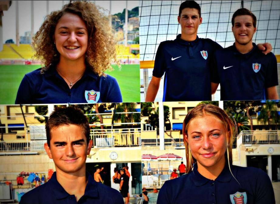 De gauche à droite et de haut en bas: Charlotte Afriat (athlétisme), Ludovic Palmaro et Olivier Lanteri (beach-volley), Émilien Puyo (natation) et Claudia Verdino (natation).