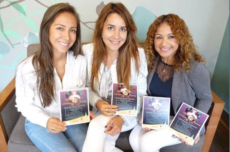 Claudia Guevara, Yilen Pons Ramirez et Erika Sheramin Beauseigneur,membres de l'AMLA qui organise cette soirée aux accents latino-américains.