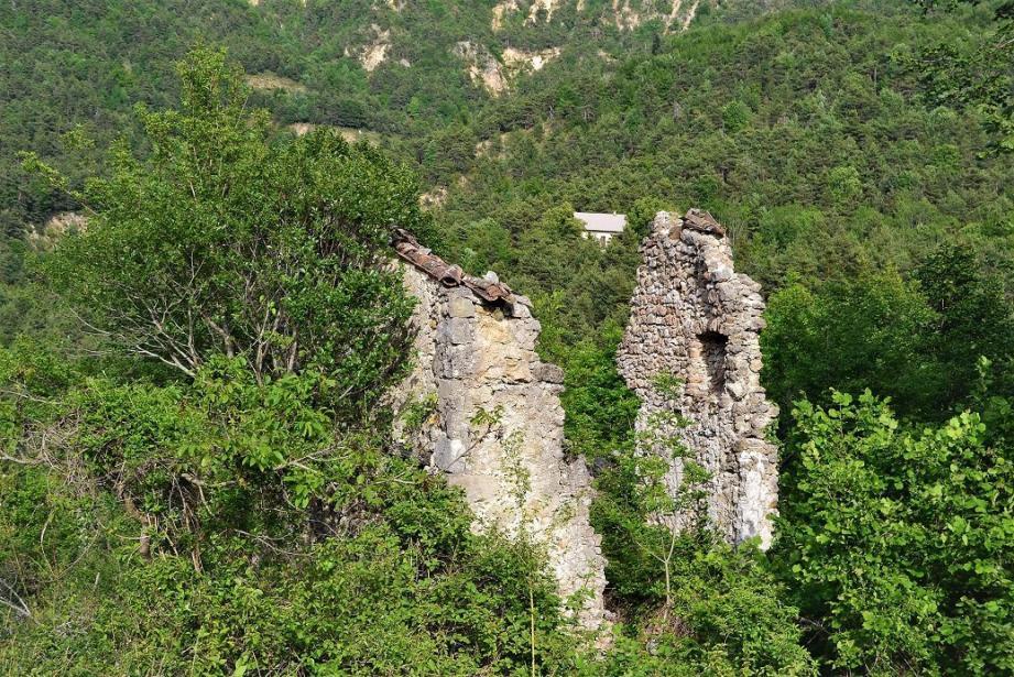 Les ruines de Végay non loin du GR4.