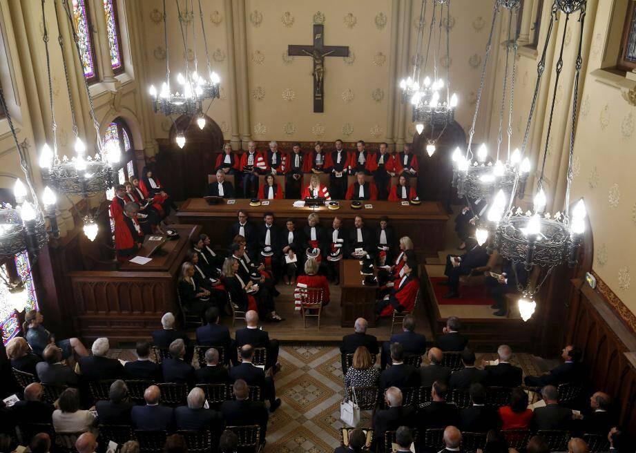 L'ensemble des représentants de la justice monégasque réunis hier matin pour la rentrée solennelle.