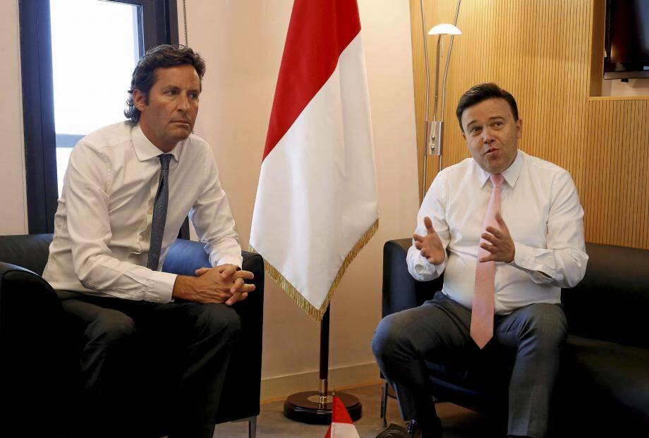 Balthazar Seydoux, président de la commission Finances et Économie nationale, et Stéphane Valeri, président du Conseil national.
