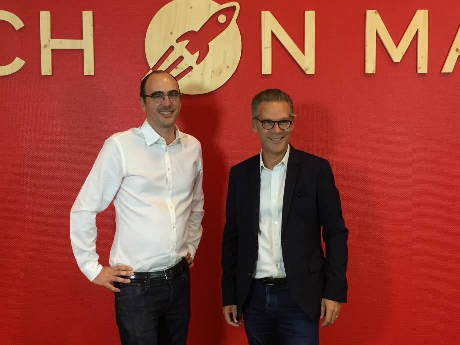 Vincent Desnot, CEO et cofondateur de Teach on Mars, et Benoît Arnaud, directeur d'Edhec Online.