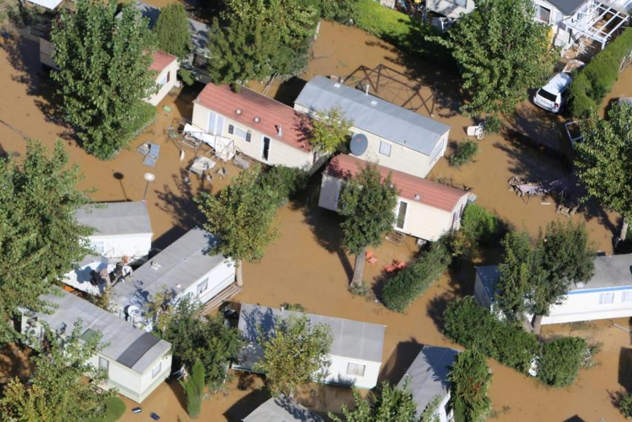 Le secteur de Biot et son camping ravagés par les inondations meurtrières d'octobre 2015.