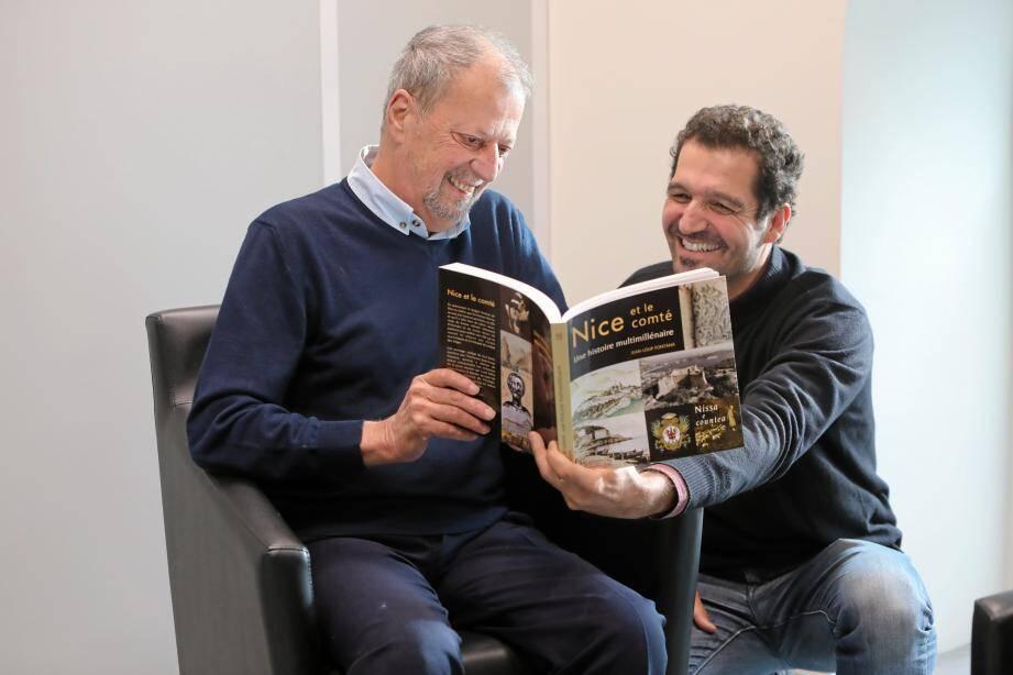 Foule de dates, de faits, de personnages, auxquels Nice et son comté sont liés à travers le travail énorme, de Jean-Loup Fontana (assis à gauche) et Frédéric Boyer.