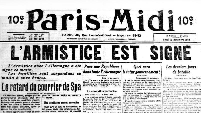 L'armistice a été signé à 5 h 15 par l'Allemagne, les journaux, qui voyaient approcher l'issue du conflit, annoncent en Une la fin de la Première Guerre mondiale dans l'édition du matin.(DR)