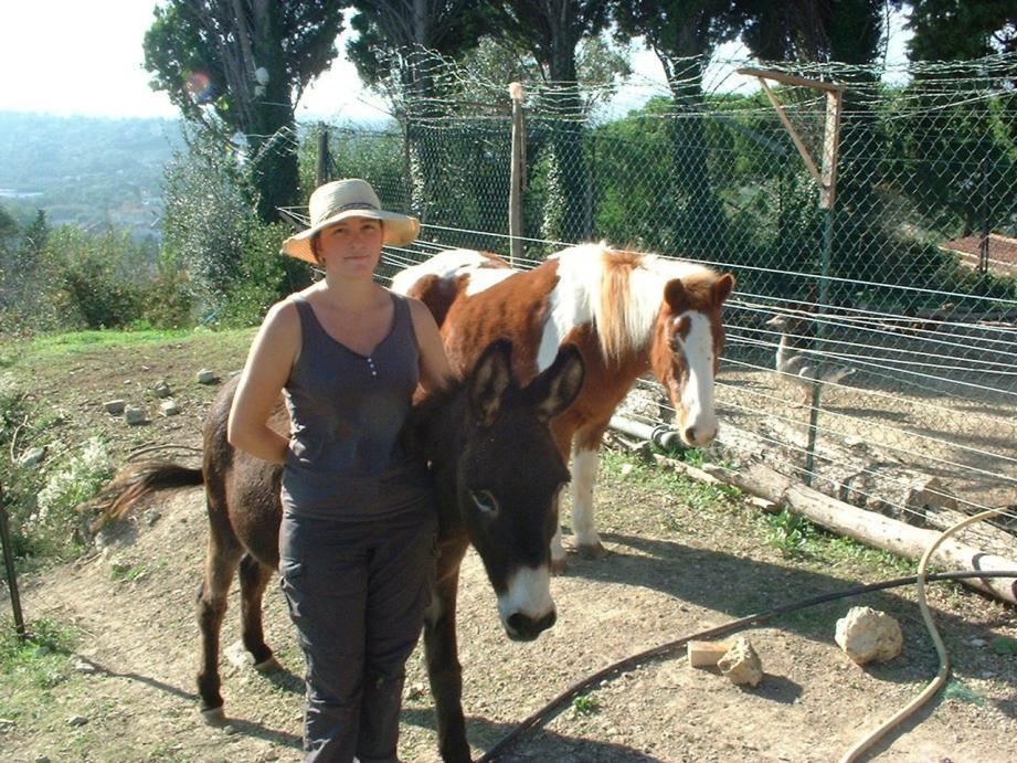 Aurore Hannequin, en compagnie de son âne et son poney, sur l'exploitation en restanques lancée par son grand-père.