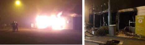 Un local commercial a été presque entièrement détruit par les flammes.