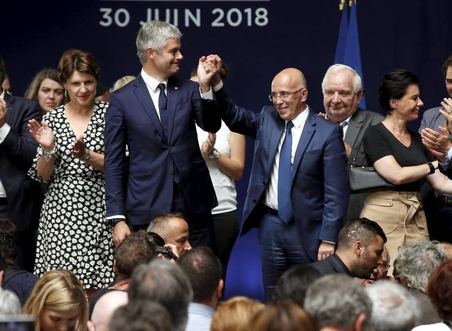 Laurent Wauquiez et Eric Ciotti lors du conseil national des Républicains à Menton en juin 2018.