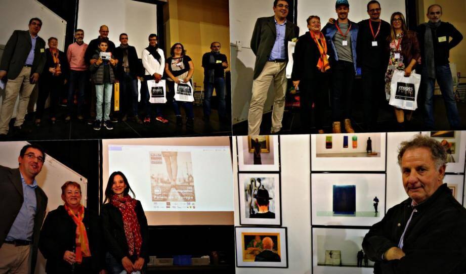 De gauche à droite et de haut en bas : les lauréats du marathon photo, du coup de cœur du public, de l'affiche. Et le grand vainqueur, Rémi Tournier.