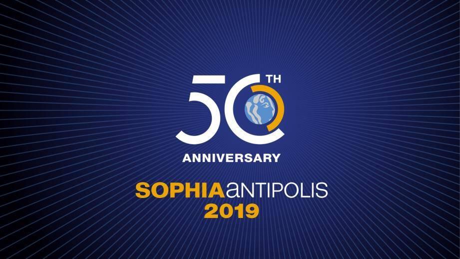Le logo « rayonnant » pour  la célébration des 50 ans de Sophia conçu Brandsilver.(D.R.)