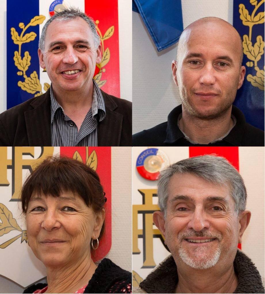 Paul Couffet (en haut à gauche) a été élu 1er adjoint, Cyril Dental (en haut à droite) 4e adjoint. Véronique Julien (en bas à gauche) sera désormais déléguée au CCAS et Gilbert Stasio (en bas à droite) délégué à l'urbanisme. (D.R)