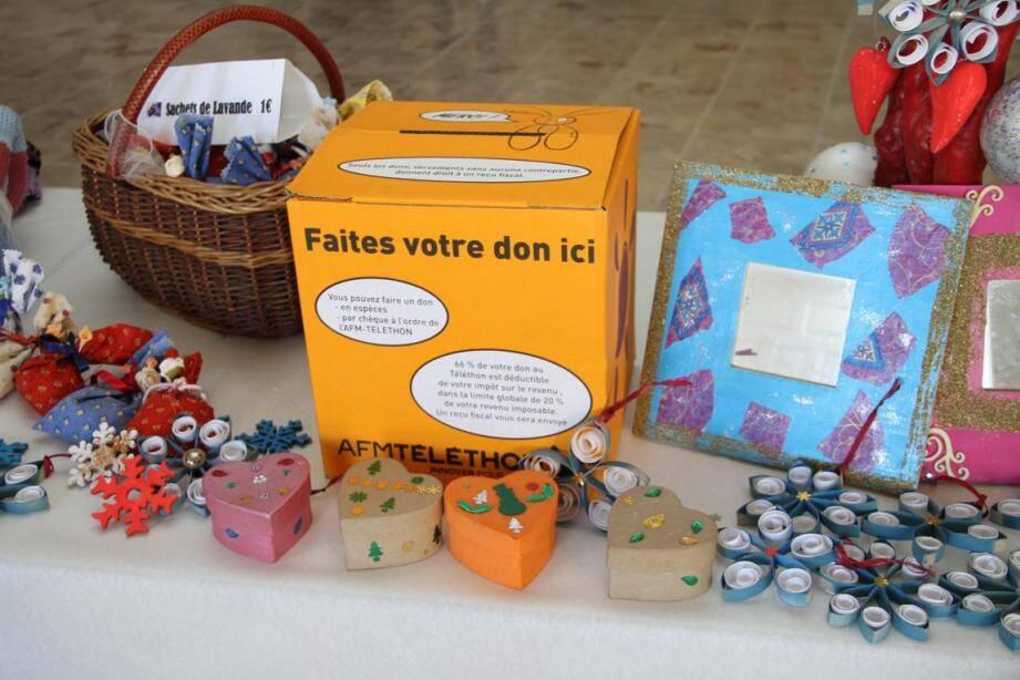 Vente d'objets divers en faveur du Téléthon, comme ici en 2017.