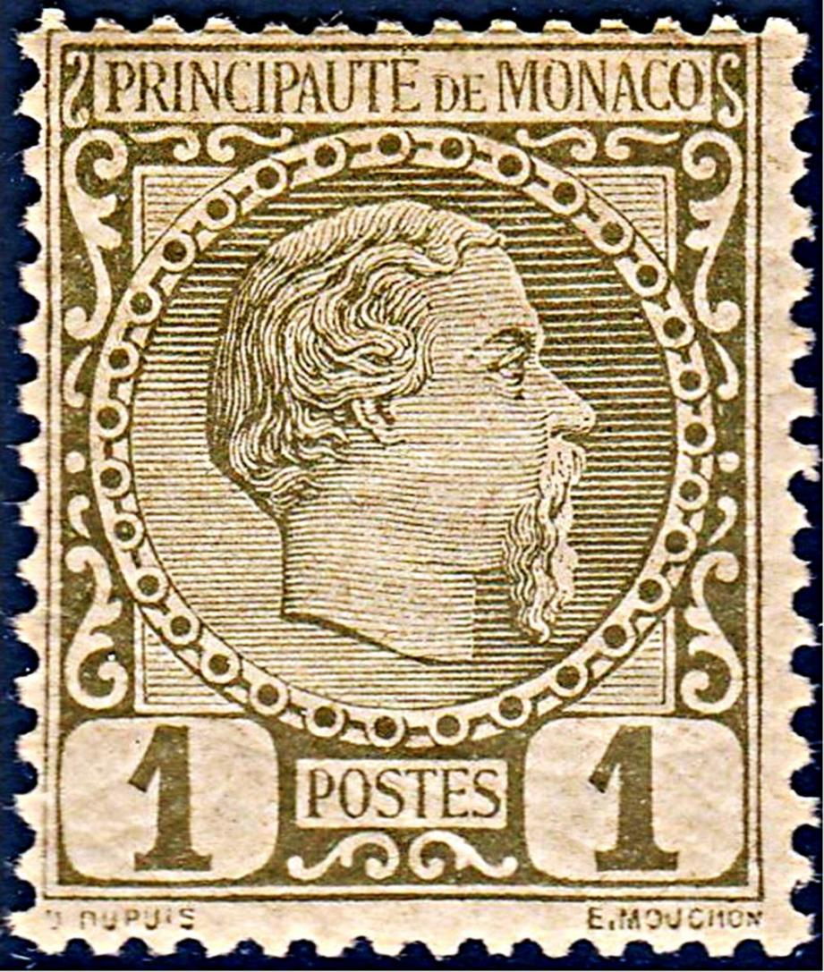 1885: 1er Timbre monégasque Charles III (DR)