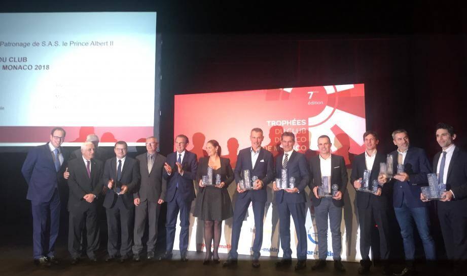 Photo de famille des lauréats et des remettants des Trophées de l'Eco MM 2018.