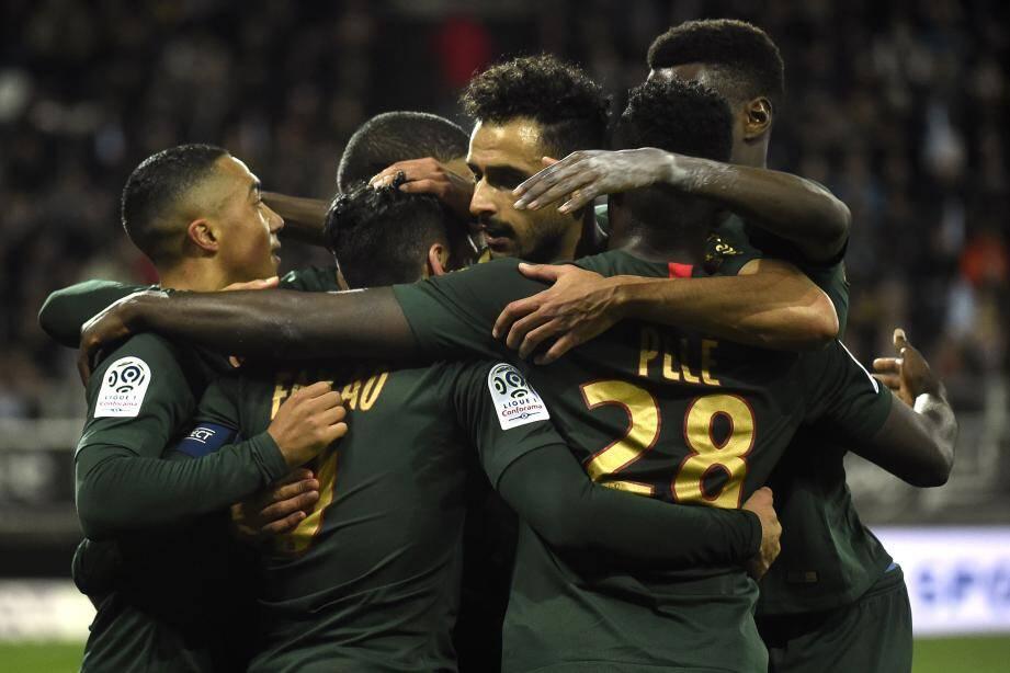 Les Monégasques à la fin du match contre Amiens, mardi 4 décembre.