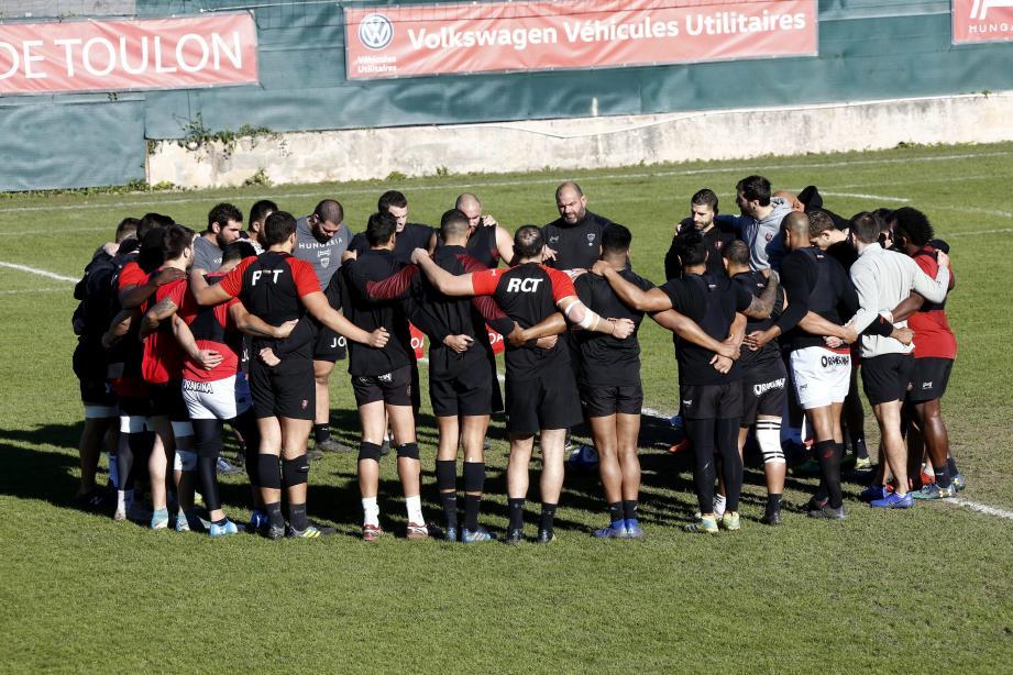 Le RCT à l'entraînement avant le match contre Montpellier.
