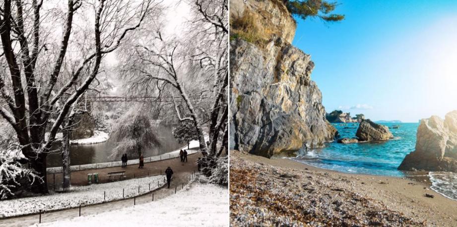 Paris (à gauche) et Toulon (à droite) ce mardi 22 janvier.