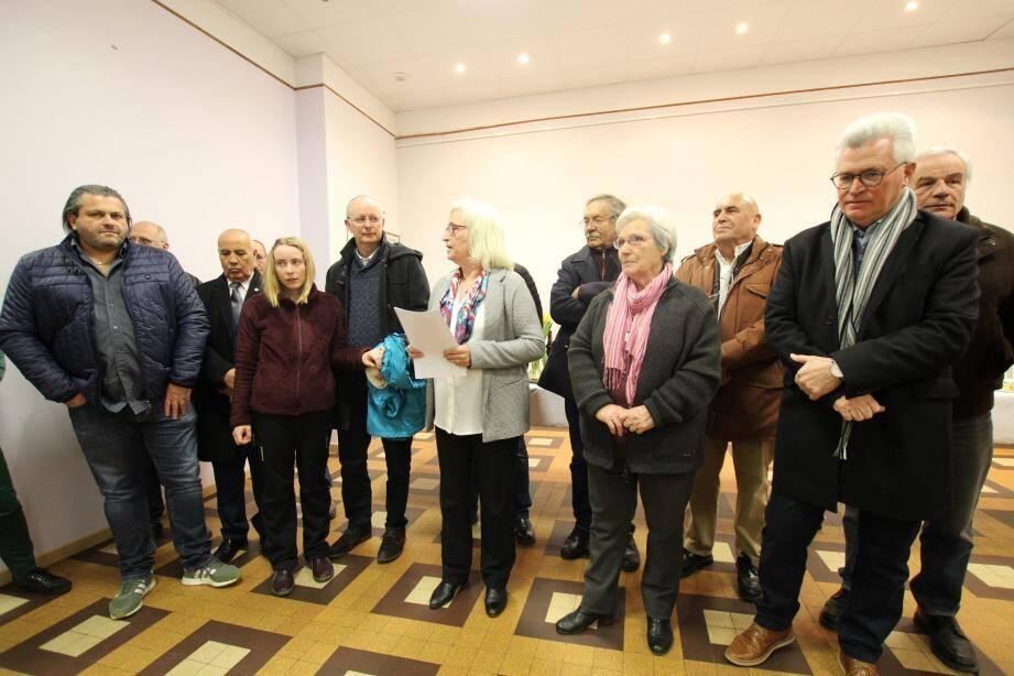 Brigitte Bresc a exprimé ses vœux du nouvel an aux côtés de Valérie Tomasini et des maires de la vallée. (Photo A-.D.S.