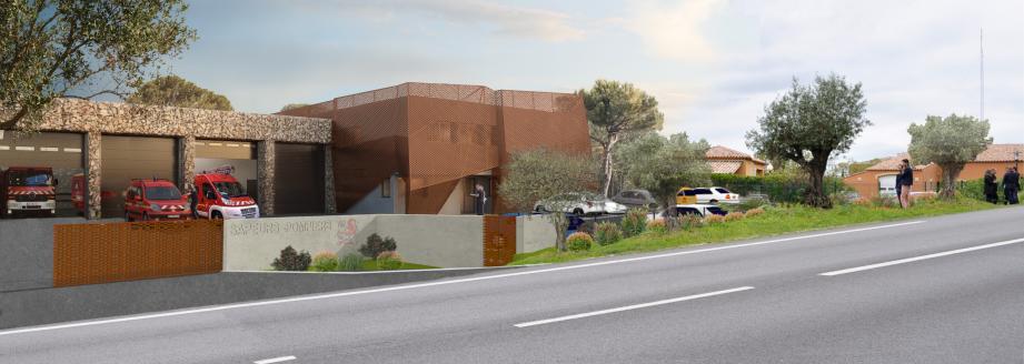 Ce dessin d'architecte préfigure ce que sera le futur centre de secours de Cogolin-Grimaud, à Grimaud.(Repro D.R.)
