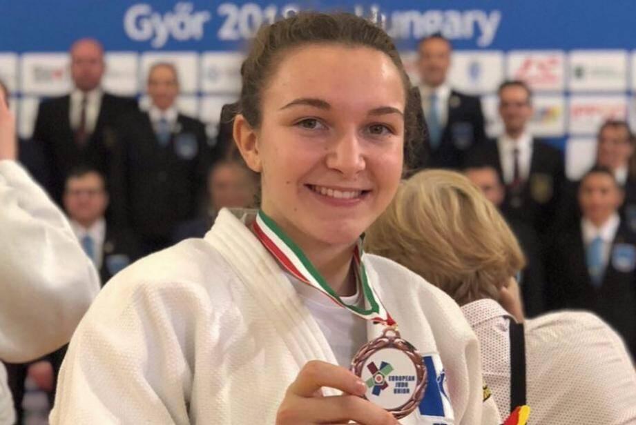 Pour sa première participation à l'European Cup Cadet avec l'équipe de France, Florine Soula a remporté la médaille de bronze dans la catégorie des - 63 kg. (DR)