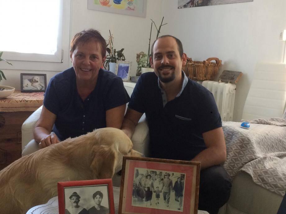 Monique Jacomino avec son fils, qui enseigne lui aussi l'histoire.