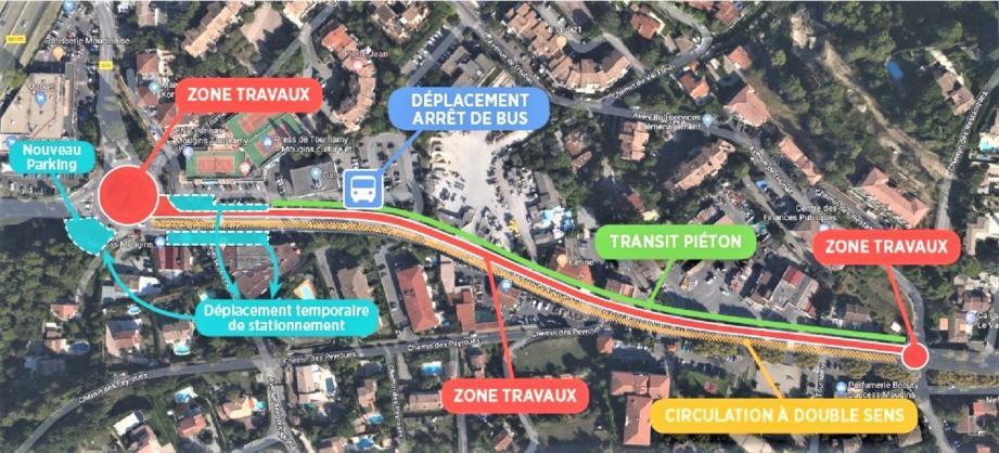 Le chantier s'étend sur une longueur de 480 mètres entre le rond-point de Juyette et celui de Tournamy. (Repro ville de Mougins)