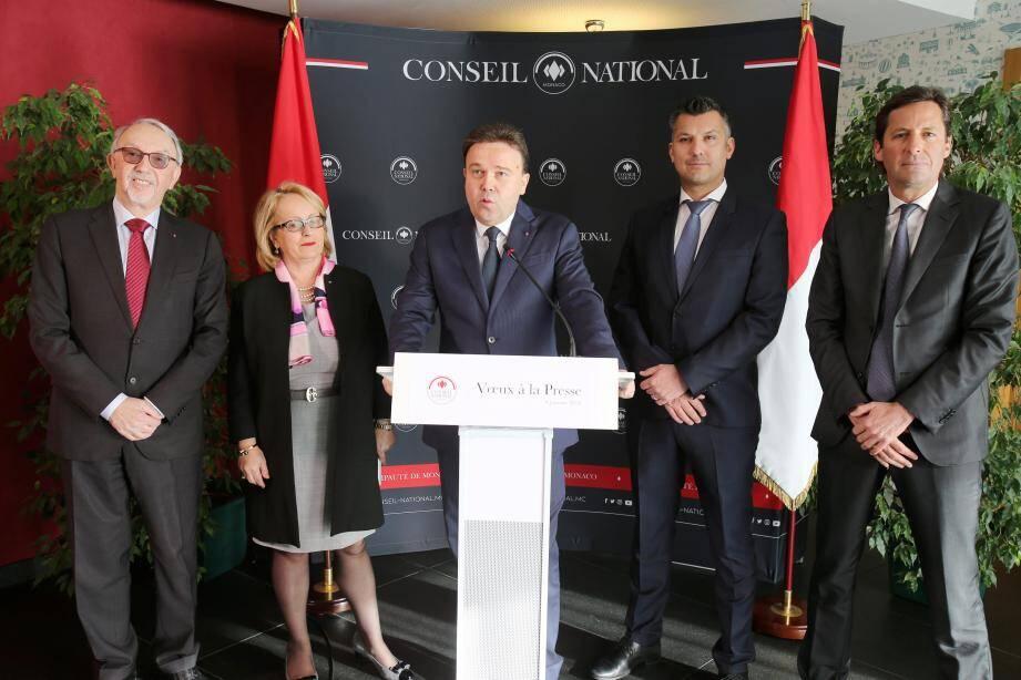 Autour du président du Conseil national Stéphane Valeri et de la vice-présidente Brigitte Boccone-Pagès, les élus José Badia, Balthazar Seydoux et Thomas Brezzo.