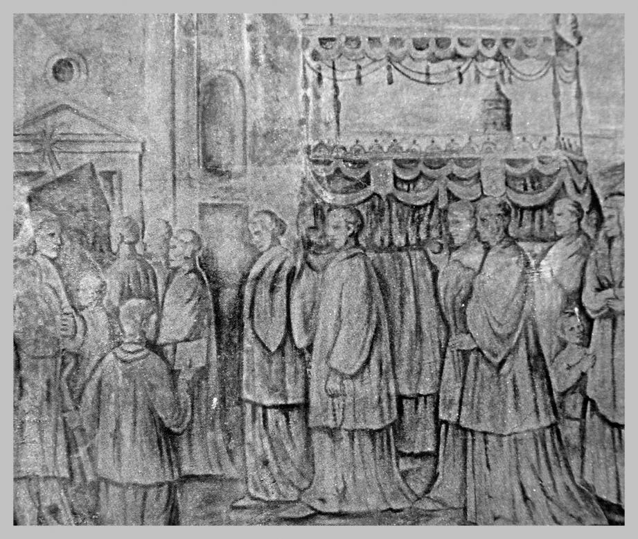 Panneau à fresque sur la façade de la Chapelle Palatine - Le cercueil  du pape Pie VI porté en 1802 en l'église St Nicolas du Rocher.(DR)