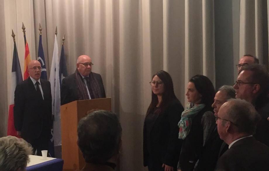 Vœux du maire de Roquebillière, Gérard Manfredi, en présence des députés Eric Ciotti et Marine Brenier et des maires des communes voisines.