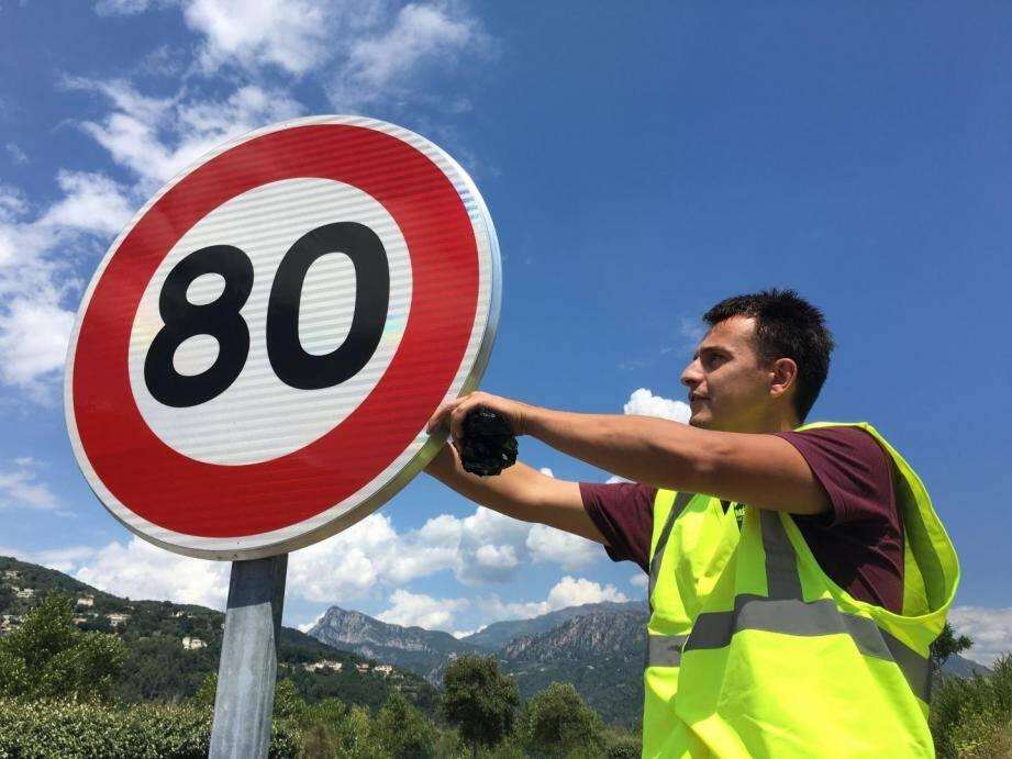 Illustration de la vitesse à 80km/h.