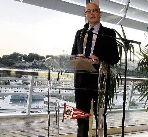 Le Ministre d'État Serge Telle, ce mardi, au Yacht-club de Monaco,pour ses vœux à la presse.