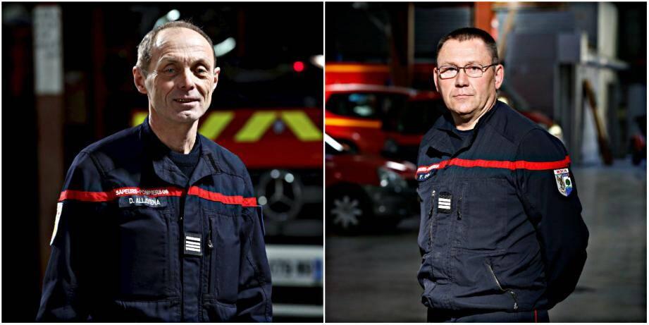 Depuis le 1er janvier, Daniel Allavena (à gauche) est le commandant de la compagnie du Pays mentonnais, mais aussi le chef de la caserne de Menton. Frédérik Caille, venu de Nice, a été nommé adjoint.