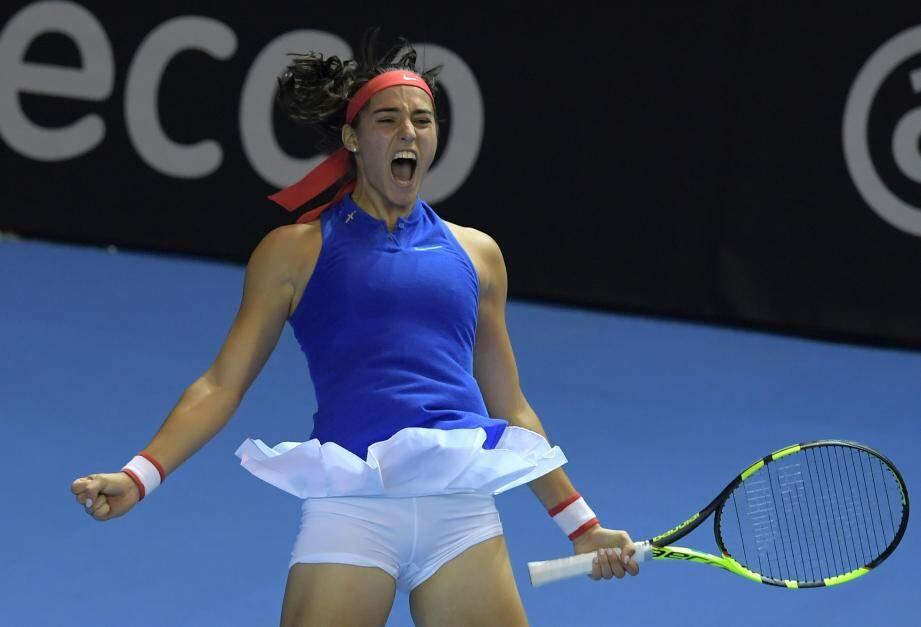 Garcia, lors de sa victoire contre Pliskova en Fed Cup (2016).
