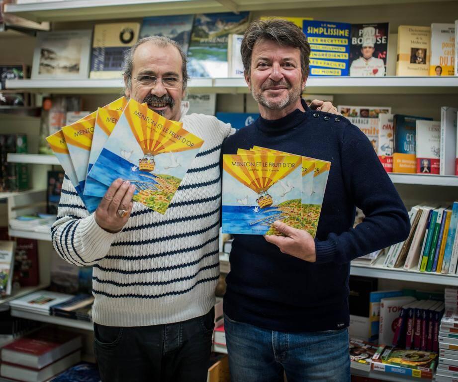 Jean-Michel Goupillou de la librairie Les Mandarins et Alain Plas.
