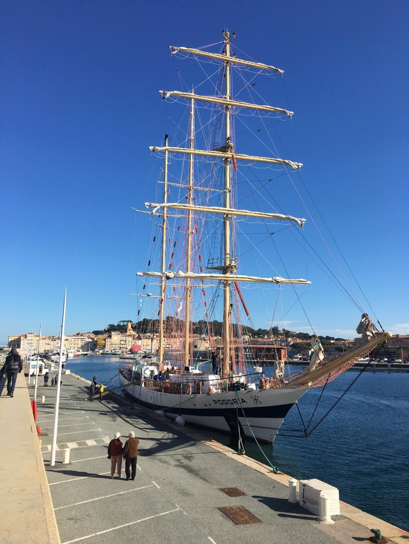 Long de 47 mètres, haut de 32 et large de 8, le massif trois-mâts goélette Pogoria a fait escale durant 24 heures dans le port de Saint-Tropez. L'embarcation polonaise sert, toute l'année, à former de jeunes marins.