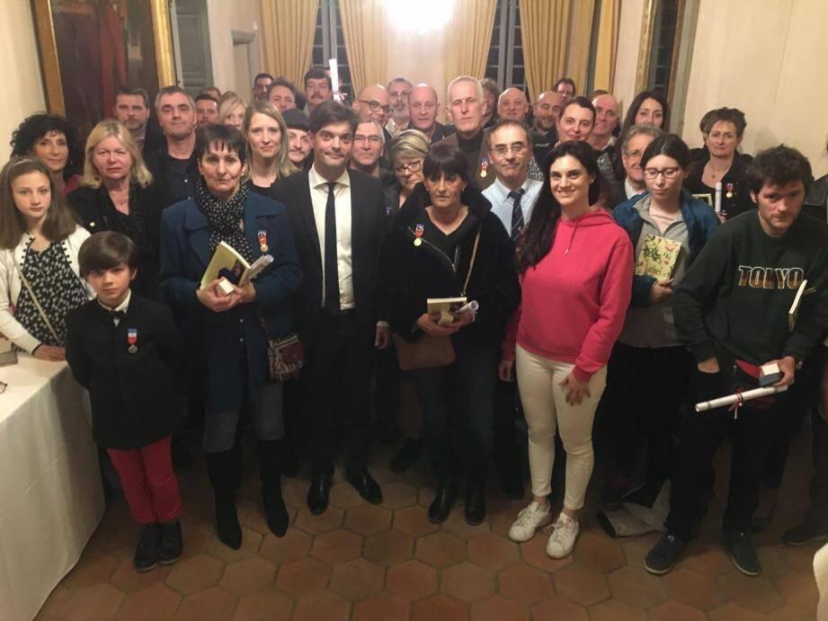 Les médaillés étaient reçus à la villa Fragonard, hier soir.(DR)
