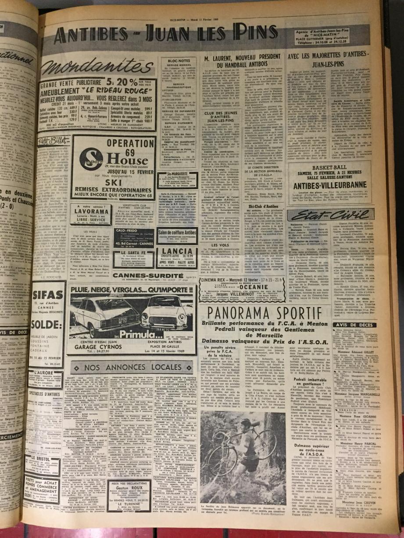 Les pages de Nice-Matin Antibes du 11 février 1969.(Repro DR)