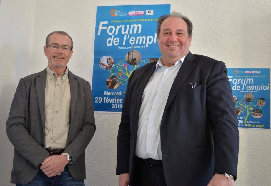 André Bideau, le directeur de Pôle Emploi, et Patrick Perez (CCAS) travaillent main dans la main depuis huit ans pour organiser un forum de l'emploi efficace et suivi.