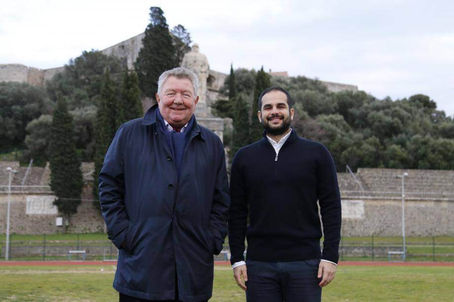 Jean-Jacques Denis, président du FCA (à gauche) et Abdullah Hammad réunis au stade du Fort Carré.