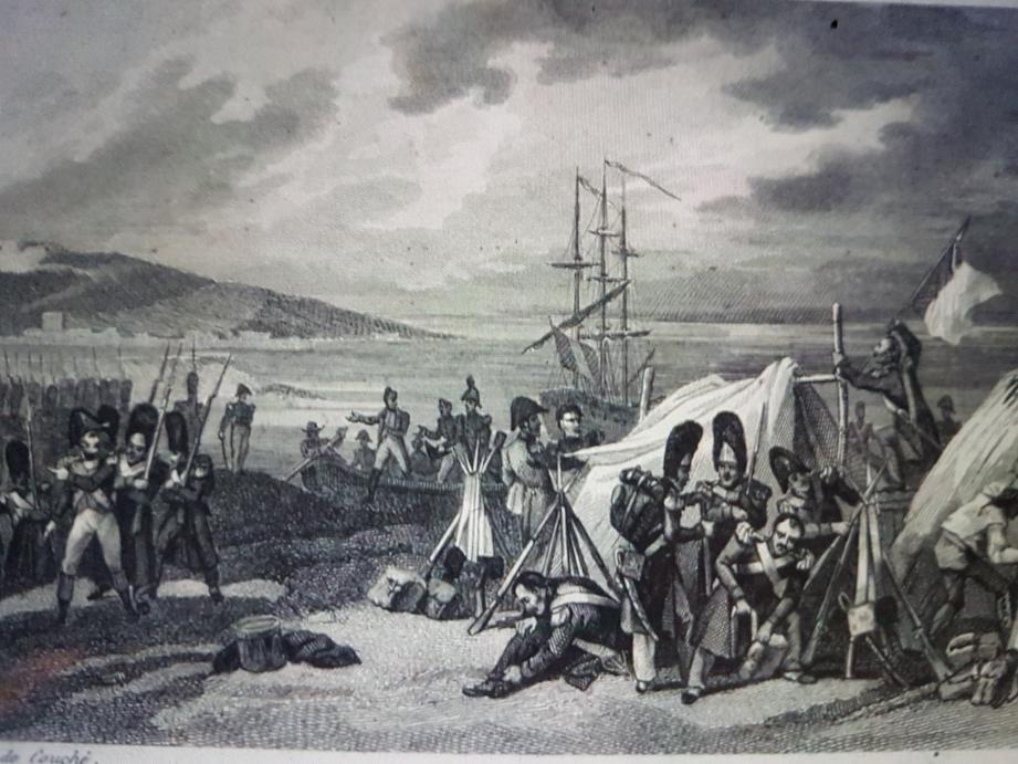 Le premier bivouac à Golfe-Juan, au soir du 1er mars 1815. De là, Napoléon part pour Paris